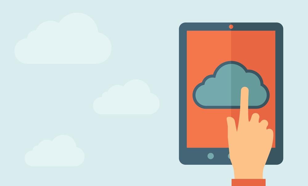 Finger touching cloud on a tablet touch screen. Cloud computing